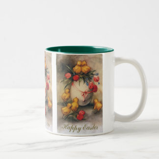 Vintage Easter Chicks with Red Tulip Flowers Two-Tone Coffee Mug