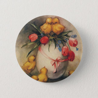 Vintage Easter Chicks with Red Tulip Flowers Pinback Button