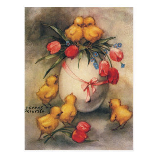 Vintage Easter Chicks with Red Tulip Flowers Postcard