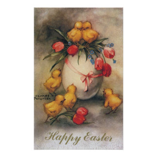 Vintage Easter Chicks with Red Tulip Flowers Poster