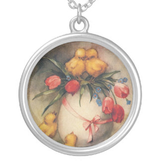 Vintage Easter Chicks with Red Tulip Flowers Silver Plated Necklace
