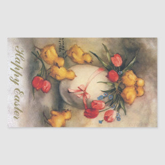 Vintage Easter Chicks with Red Tulip Flowers Rectangular Stickers