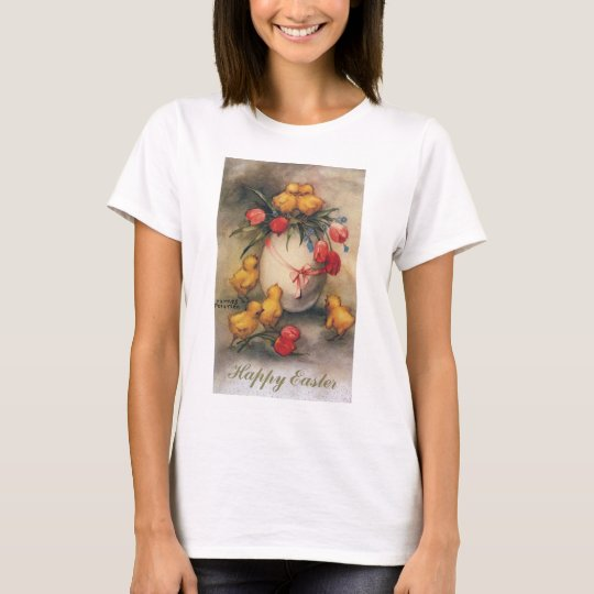 Vintage Easter Chicks with Red Tulip Flowers T-Shirt