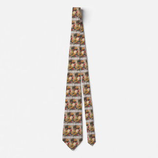 Vintage Easter Chicks with Red Tulip Flowers Tie