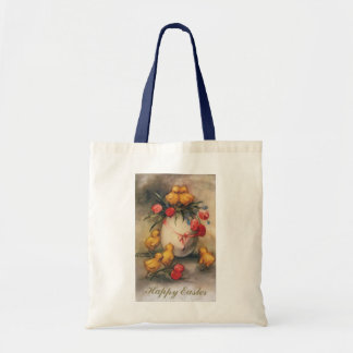 Vintage Easter Chicks with Red Tulip Flowers Tote Bag