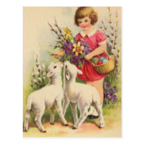 Vintage Easter Child and Lambs Postcard