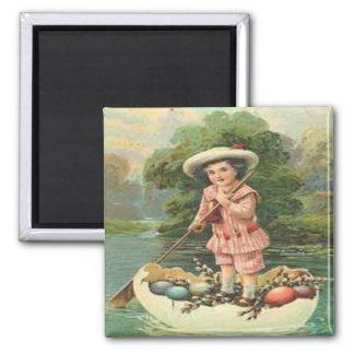 Vintage Easter Child in Egg Boat Magnet