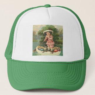 Vintage Easter Child in Egg Boat Trucker Hat