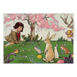 Vintage Easter, Child on an Egg Hunt with Animals Cards
