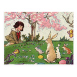 Vintage Easter, Child on an Egg Hunt with Animals Post Cards