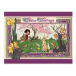 Vintage Easter, Child on an Egg Hunt with Animals Postcard