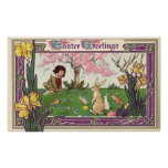 Vintage Easter, Child on an Egg Hunt with Animals Poster