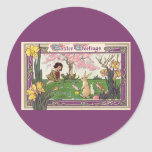 Vintage Easter, Child on an Egg Hunt with Animals Round Sticker