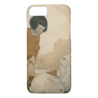 Vintage Easter, Child Playing White Bunny Rabbits iPhone 7 Case