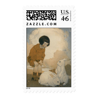 Vintage Easter Child Playing White Bunny Rabbits Postage