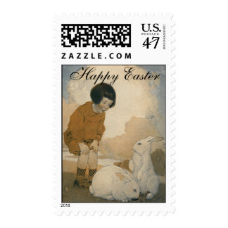 Vintage Easter, Child Playing White Bunny Rabbits Stamp