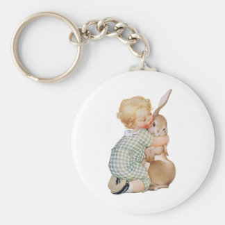 Vintage Easter, Child with Bunny Rabbit, Hugs Love Basic Round Button Keychain
