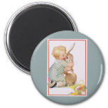 Vintage Easter, Child with Bunny Rabbit, Hugs Love Magnets