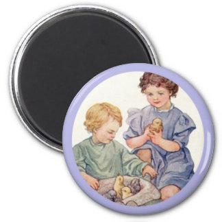 Vintage Easter Children and Baby Chicks Magnet
