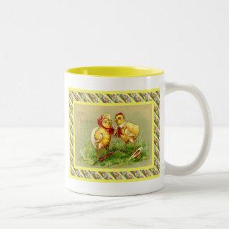 Vintage Easter, Couple of chicks Two-Tone Coffee Mug