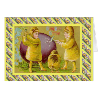 Vintage Easter, Cracking the egg Card