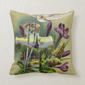 Vintage Easter Cross and Dove Pillow