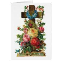 Vintage Easter Cross & Flowers (Blank Inside), Card