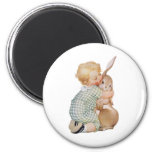 Vintage Easter, Cute Boy Child with Bunny Rabbit 2 Inch Round Magnet