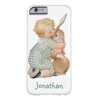 Vintage Easter, Cute Boy Child with Bunny Rabbit Barely There iPhone 6 Case