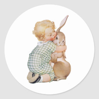 Vintage Easter, Cute Boy Child with Bunny Rabbit Classic Round Sticker