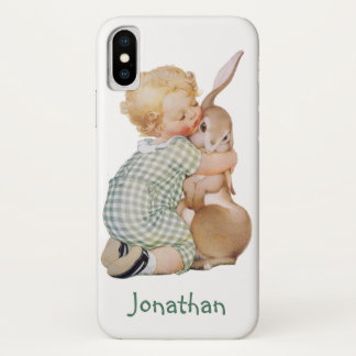 Vintage Easter, Cute Boy Child with Bunny Rabbit iPhone X Case