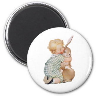 Vintage Easter, Cute Boy Child with Bunny Rabbit Magnet