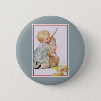Vintage Easter, Cute Boy Child with Bunny Rabbit Pinback Button