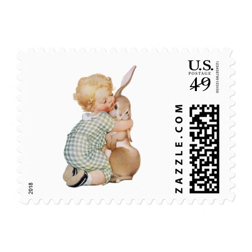 Vintage Easter, Cute Boy Child with Bunny Rabbit Postage