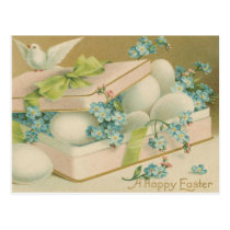 Vintage Easter Dove and Eggs Postcard
