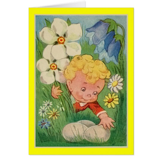 Vintage Easter drawing, cute boy, searching eggs Card