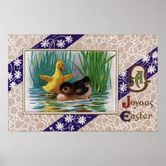Vintage Easter Ducklings Poster