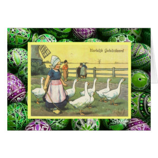 Vintage Easter, dutch girl with geese Card
