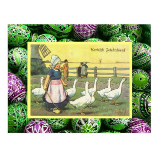 Vintage Easter, Dutch girl with geese, windmill Postcard