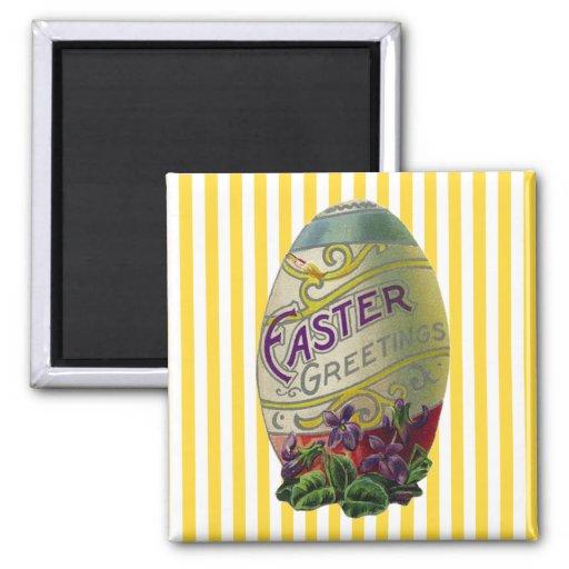 Vintage Easter Egg 2 Inch Square Magnet