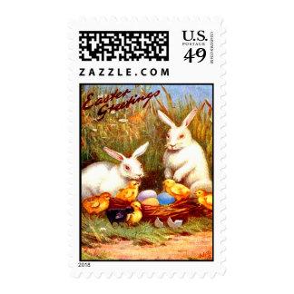 Vintage Easter Egg Bunny Chicks Easter Card Postage Stamp