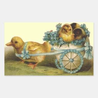 Vintage Easter Egg Cart Rectangular Sticker