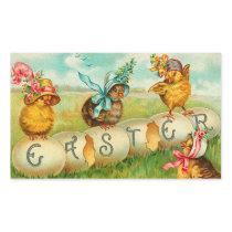 Vintage Easter Egg Chicks Rectangular Sticker