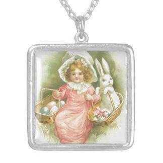 Vintage Easter Egg Gathering Silver Plated Necklace