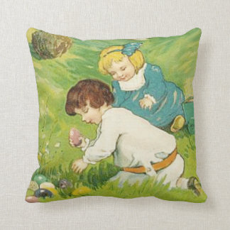 Vintage Easter Egg Hunt Throw Pillow