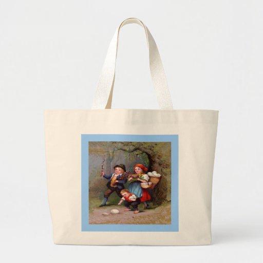 Vintage Easter Egg Hunters Jumbo Tote Bag
