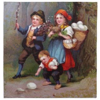 Vintage Easter Egg Hunters Printed Napkin