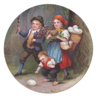 Vintage Easter Egg Hunters Plate