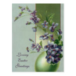 Vintage Easter Egg with Blooming Purple Flowers Post Cards