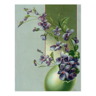 Vintage Easter Egg with Blooming Purple Flowers Postcard